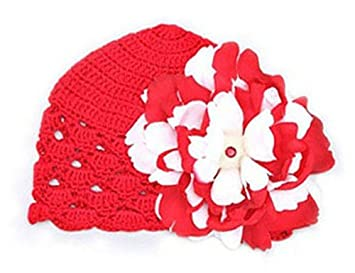 465d6b70a6d Amazon.com   Red Scallop Crochet Hat with Red White Peony   Infant And  Toddler Hats   Baby