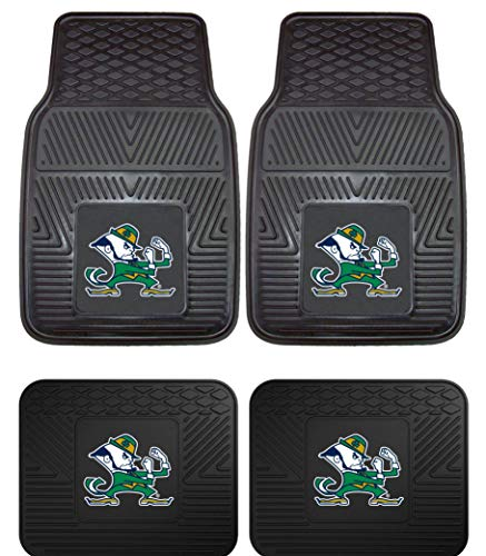 - Officially Licensed NCAA Set of Universal Fit Front and Rear Rubber Automotive Floor Mats - Notre Dame Fighting Irish