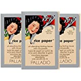 Palladio Rice Paper Tissues, Translucent, 40 Sheets (Pack of 3), Face Blotting Sheets with Natural Rice Powder Absorbs Oil, Helps Skin Stay Looking Fresh and Smooth, Compact Size for Purse or Travel