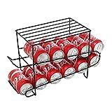 Modern Black Metal 12-Can Soda & Beer Dispenser / Canned Beverage Refrigerator Storage Rack w/ Top Shelf