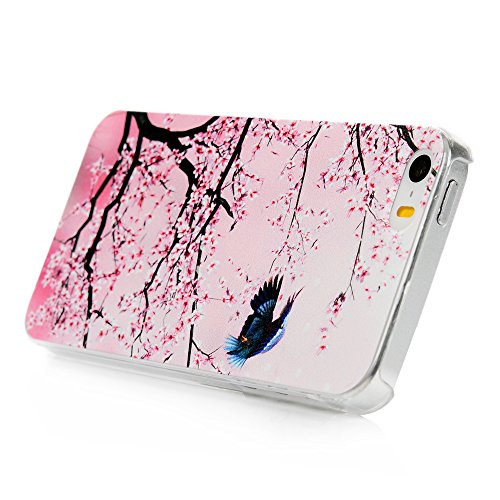 iPhone 5/SE Case, KASOS iPhone 5/SE Handyhülle Schale Etui Protective Case Cover Gemalt Handyhülle PC Hard Backcase Transparente Bumper Etui,Asuka design + Stöpsel Staubschutz + Eingabestift