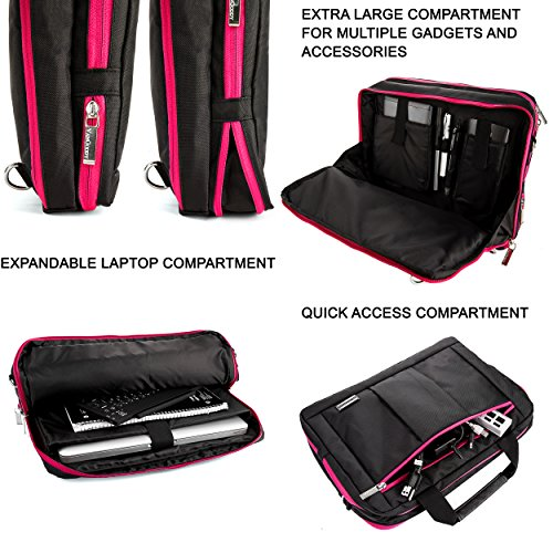 Executive Travel Carrying Bag, Messenger Bag & Backpack For Samsung Galaxy Tab PRO / Galaxy Note PRO 12.2'' Tablet + Pink Bluetooth Suction Speaker by Vangoddy (Image #4)