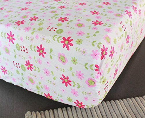 NAUGHTYBOSS Girl Baby Bedding Set Cotton 3D Embroidery Rabbit Flowers Insects Quilt Bumper Mattress Cover Bedskirt 7 Pieces Set White Pink by NAUGHTYBOSS (Image #5)