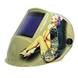 TGR Extra Large View Auto Darkening Welding Helmet - Tattoo Girl - 4''W x 3.65''H