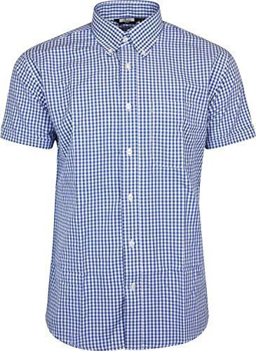 Vintage Shirts – Mens – Retro Shirts Relco Mens Blue White Classic Gingham Shortsleeve Button Down Polycotton Shirt £28.99 AT vintagedancer.com