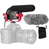 Movo VXR4000R Directional Shotgun Condenser Video Microphone with Shockmount, Low Cut Filter, Foam & Deadcat Windscreens & Carry Case - For DSLR Cameras & Camcorders