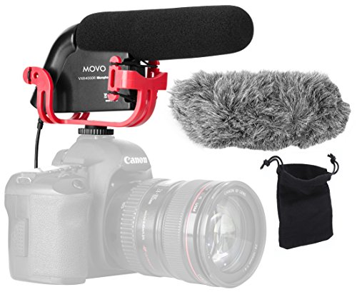 Movo VXR4000R Directional Shotgun Condenser Video Microphone with Shockmount, Low Cut Filter, Foam + Deadcat Windscreens and Carry Case - for DSLR Cameras and Camcorders