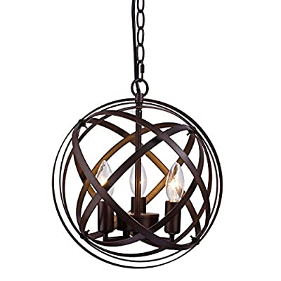 AXILAND Industrial Vintage Retro Lamp Edison Adjustable Chain Metal Globe Cage Candle Chandeliers Pendant Lighting Fixture 3---Lights