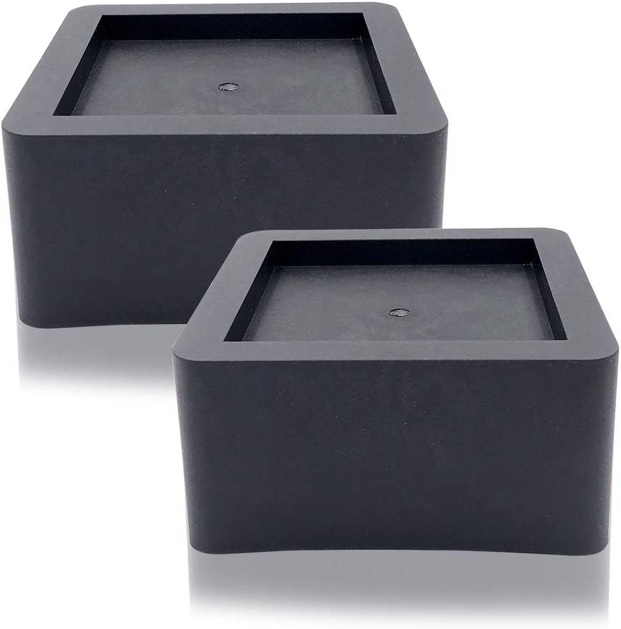DuraCasa 3 Inch Bed Risers 2 Pack- Fits Huge 5.5 Inch Bed or Furniture Post, Creates an Additional 3 Inches of Height or Storage! Heavy-Duty Table, Chair, Desk or Sofa Riser (2, 3 Inch Black)