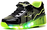 Boy And Girl's LED Light Up Roller Skate Shoes With Wheels for Kids gift. ?Green 4 M US Big Kid?