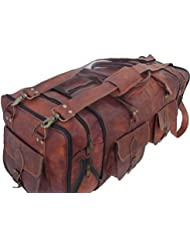 Handmade Vintage 30 Mens Leather Duffle Travel Bag Sporty Overnight Gym Bag