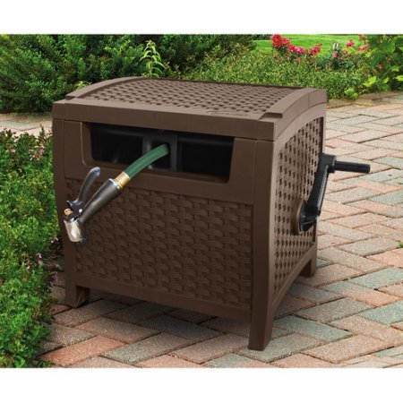 Price comparison product image No assembly needed Features slide track for easy winding and unwinding Provides durable contemporary design to conceal hose 175' Resin Wicker Hose Hideaway