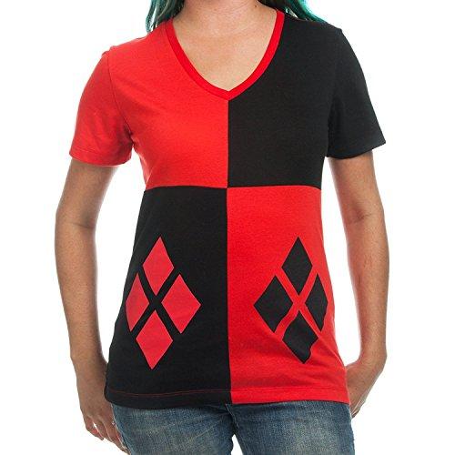Bioworld DC Comics Harley Quinn Suit up Costume Junior T-Shirt (Small)