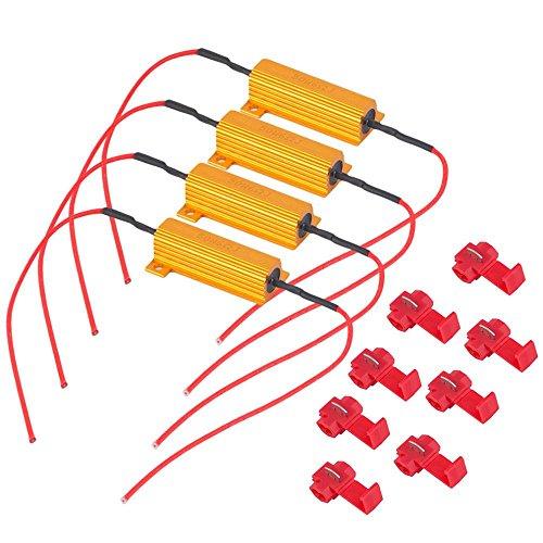Hyper Red Light Bulb (4PCS 50W 6ohm Load Resistors ELOGOOG - Fix LED Bulb or License Plate Lights Fast Hyper Flash Turn Signal Blink Error Code)