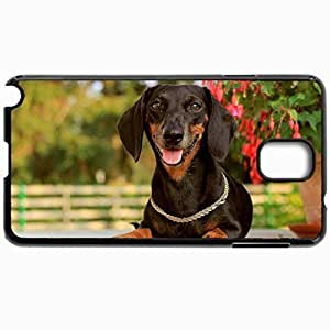 Customized Cellphone Case Back Cover For Samsung Galaxy Note 3, Protective Hardshell Case Personalized Dog Dachshund Face Holiday Collar Black