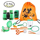 LTCtoy Adventure Kit for Kids - Outdoor Explorer Kit,12-in-1 Including Binoculars, Flashlight, Compass, Magnifying Glass, Bug Catcher, Kids Camping Gear.Great Outside Toys for Hiking, Backyard Safari
