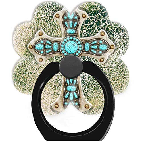 Blackpink Socket 360 Degree Rotation of Cell Phone Finger Holder Pop Grip Stand with Car Mount Hooks Works for All Smartphones and Tablets Western Cross On Cowhide Leather Look Turquoise Black
