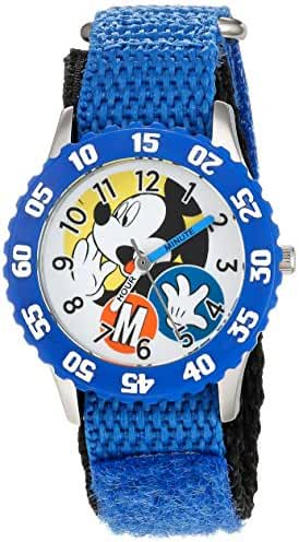 Disney Boy's 'Mickey Mouse' Quartz Stainless Steel and Nylon Casual Watch, Color:Black (Model: WDS000156)