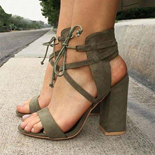 Esercito Sandali Caviglia Cinturino Sandalo Donna Shoes da Aperta Elegante Largo Verde ZKOOO Tacco Punta Alto Strappy IHa6Yq