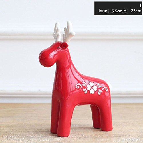 Inteeon home series 1 Piece Red Elk Christmas Gift Ceramic...