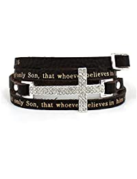 4031178 John 3:16 Leather Wrap Cross Bracelet Adjustable Belt Buckle For God So Loved The World