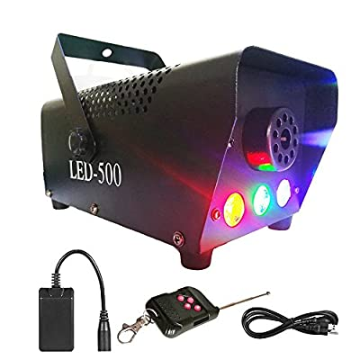 Yugee Professional Haze Fog Machine 400W Wireless Remote Control with Lights LED Cold Smoke Maker Chiller Portable Fog Generator System with LED Colorful Smoke Fog Ejector for Stage Party Club Bar