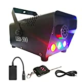 (US) Yugee Professional Haze Fog Machine 400W Wireless Remote Control with Lights LED Cold Smoke Maker Chiller Portable Fog Generator System with LED Colorful Smoke Fog Ejector for Stage Party Club Bar