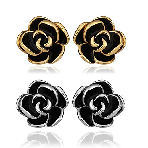18K White Gold Yelow Gold Plated Stud Earrings,Hollowed Black Rose Flower/Butterfly CZ Cubic Zircon Hypoallergenic Studs For Women Teen Girls Sensitive Ears (2 Pairs Oil Flower)