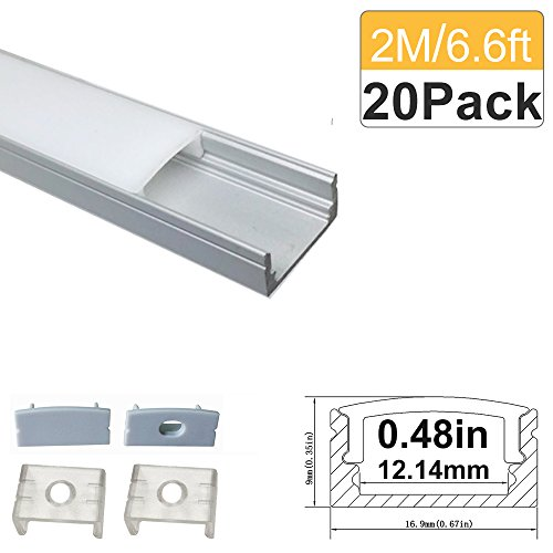 LightingWill 6.6ft/2M 20 Pack(131ft/40M) 9x17mm Silver U Shape LED Aluminum Channel System for <12mm LED Strip Light with White Diffuser Cover, End Caps and Mounting Clips Aluminum Profile -U02S2M20 by LightingWill