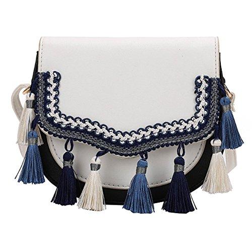 Coafit Bolso de Hombro Borla Bolsa de Cuerpo Cruzado DecoracióN Borla de Moda Bolso Satchel para Mujer White