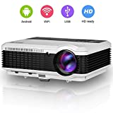 EUG 3600 Lumens WiFi Projector HDMI, Portable Digital Multimedia Wuxga TV Projectors, Miracast Airplay DLNA Full HD 720p 1080p Ready, for Video Game Movie Home Cinema Theater Outdoor Entertainment