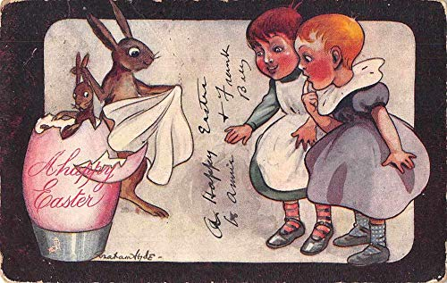 - Easter Greetings Children and Bunny Rabbits Vintage Postcard JA454709