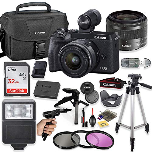 """Canon EOS M6 Mark II Mirrorless Digital Camera (Black) EVF-DC2 Viewfinder Kit with 15-45mm STM Lens + Sandisk 32GB Card, Canon Case, Flash, Grip Tripod, 50"""" Tripod, and More."""