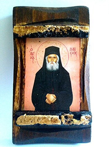 Handmade Wooden Greek Orthodox Wood Icon of Saint Elder Paisios / - Wooden Saints Icons