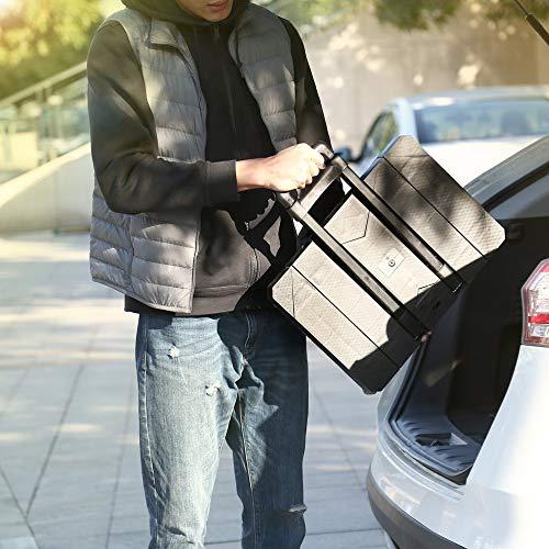negro JICHUI Plegable extensible mano carretilla carro 6-Universal-Rueda plana carro del equipaje con mango telesc/ópico de acero inoxidable de tres veces