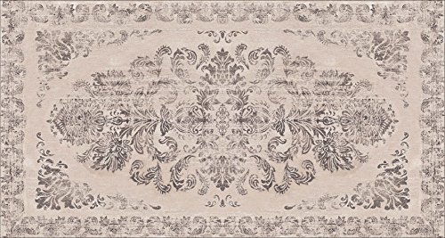 Capel Bamboo (Area Rug with Non-skid Rubber Backing, Decorative Modern Carpet for Living, Dining & Children's Rooms, Bedroom Anti-slip Throw Runner for Kitchen, Bathroom, Hallway & Entyr Damask Grey (2'7