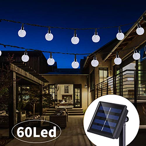 Solar String Lights 33 Feet 60 LED Outdoor Crystal Balls Waterproof Globe Fairy Lights 8 Modes Decoration Light for Patio Lawn Garden Wedding Party Home Yard Lawn Holiday (Cool White) from puersit