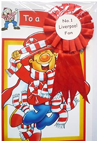 New Liverpool Fc Birthday Card With Rosette Amazon Sports