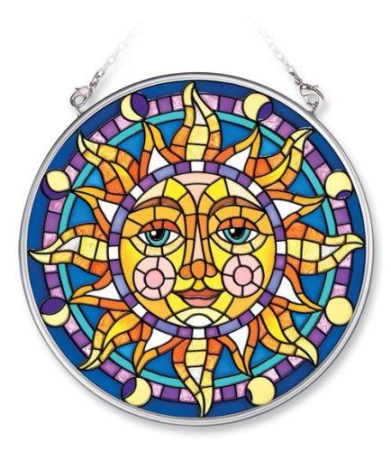 Amia Handpainted Glass Mosaic Sun Suncatcher, 4-1/2-Inch