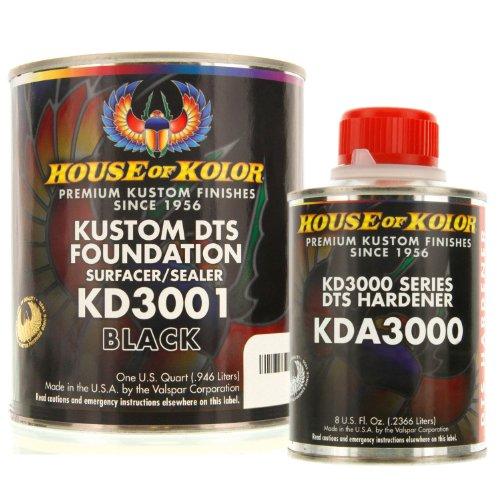 House of Kolor QUART KIT BLACK Color KD3000 DTS Surfacer / Sealer w/ Hardener (Of House Primer Kolor)