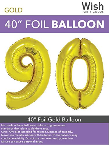Wish Party Goods Extra Large Giant Jumbo 40 inch Gold Color High Quality Mylar Foil Number Balloons - Special Milestone Birthday/Anniversary/Wedding Party Event Decorations (90)