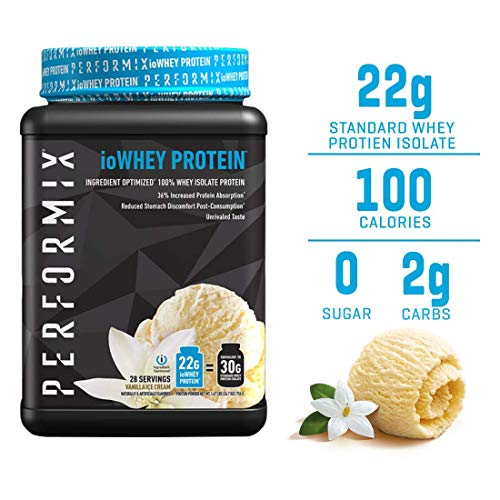 Performix ioWHEY Protein, 100% Whey Isolate Protein, Quick Absorption, 22g Protein, Low Carb, No Sugar (28 Servings, Vanilla Ice Cream)