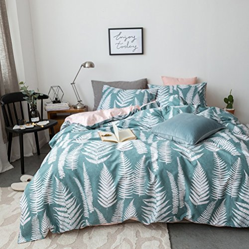 100% Cotton Bedding Set Floral Flower Leaf Pattern,Duvet Cover Set Twin Size 3 Piece (1pc Duvet Cover + 1pc Flat Sheet + 1pc Pillowsham) by WarmGo - Not Include Comforter by WarmGo