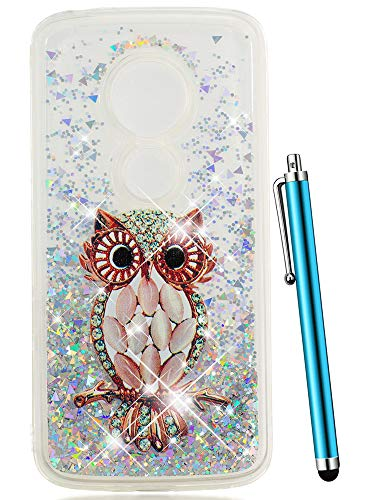 Moto E5 Play Case, Moto E5 Cruise Case, CAIYUNL Clear TPU Glitter Sparkle Liquid Quicksand Bling Floating Protective Cute Design Women Girls Phone Case Motorola Moto E5 Play/Moto E5 Cruise - Owl