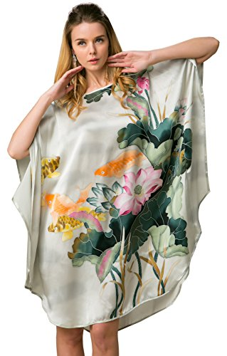 100% Pure Silk Nightgown Batwing Sleeved Classic - Classic Silk Scarf Pure