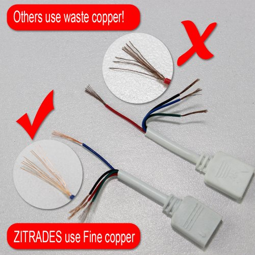 Zitrades LED Strip Connector 4 Pin, Compatible with 10mm Width SMD 5050 RGB Strip Light, Strip to Strip Jumper (4PCS 2M Extension Cable Connect Female Plug and 8PCS Connectors Male) by Zitrades (Image #1)