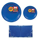 Big Party Pack Royal Blue 50-Set (Dinner Plates, Dessert Plates, Luncheon Napkins) Party Avenue Bundle-Pack