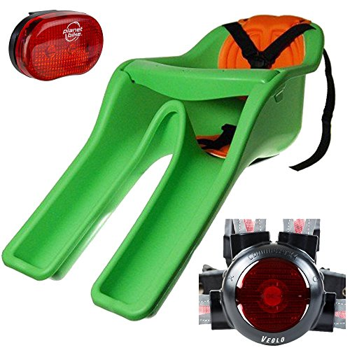 """iBert (CC01001) Safe-T-Seat w/ New Padded Front-Mounted Child Bicycle Seat Green With Bundle includes, Planet-Bike Blinky """"3"""" 3-Led Rear Bicycle Light & Veglo Commuter X4 Wearable Rear Light System"""
