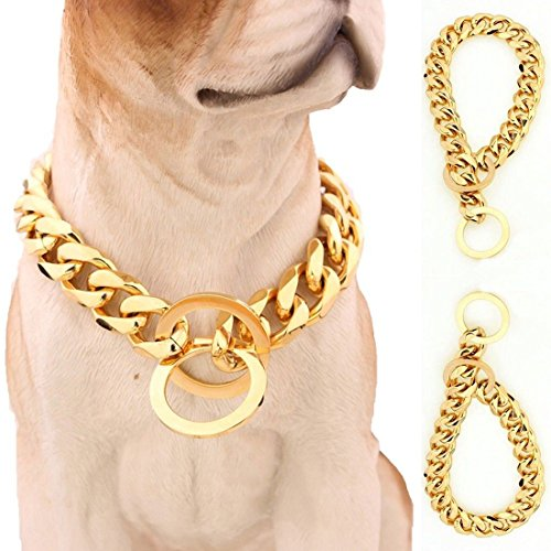 15mm Heavy Duty Gold Tone Stainless Steel Metal Pet Dog Choke Chain Collar Necklace 22 inch for Pit Bull, Mastiff, Bulldog, Big Breeds (for Dog's Neck 18'')