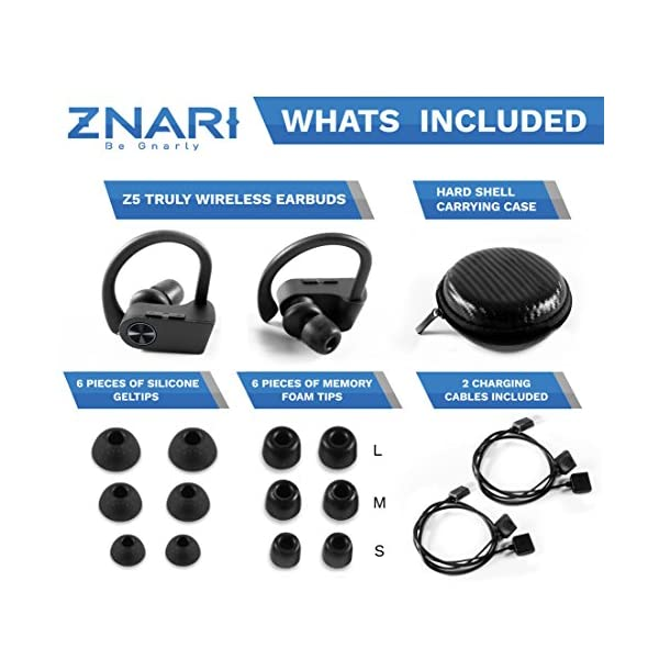 True Wireless EARBUDS Totally Truly Bluetooth 5 Power Pro Sports Beats Noise Cancel Isolation Waterproof IPX7 Black Grey 6
